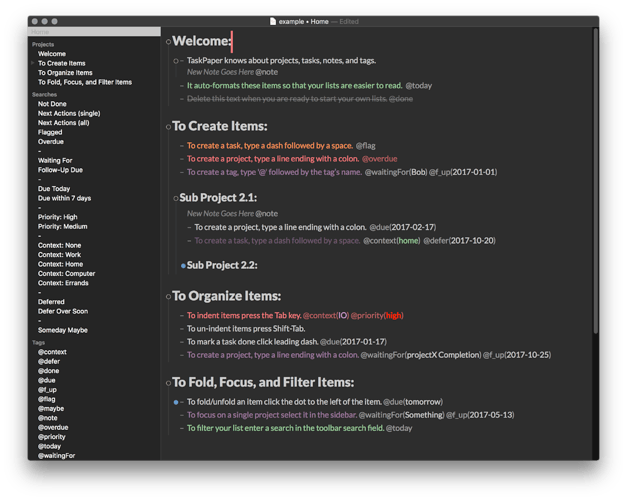 Preview of a taskpaper with the Dark StyleSheet applied