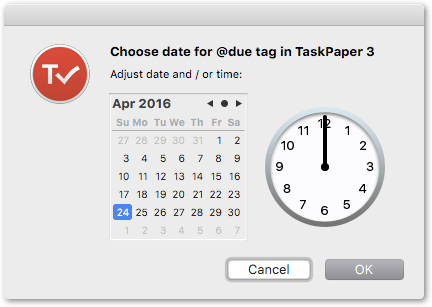 A general date-picker script for any tag type - TaskPaper